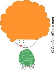 An orange-haired cute little cartoon kid vector or color illustration