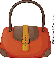 An orange handbag - Illustration of an orange handbag on a...