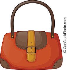 An orange handbag - Illustration of an orange handbag on a...