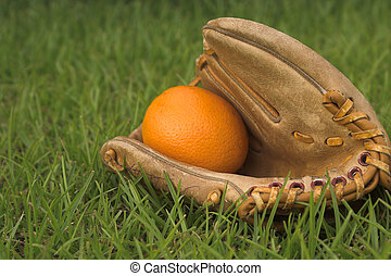 An Orange in a Baseball Glove - A delicious orange in a...