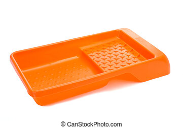 an orange paint tray for paint rollers on a white background