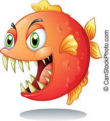 An orange piranha - Illustration of an orange piranha on a...