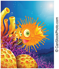 An orange puffer fish near the coral reefs - Illustration of...