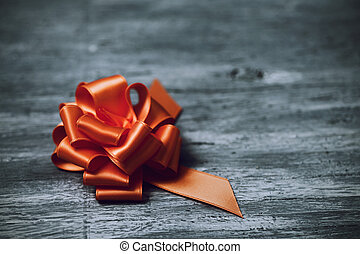 orange satin gift ribbon bow