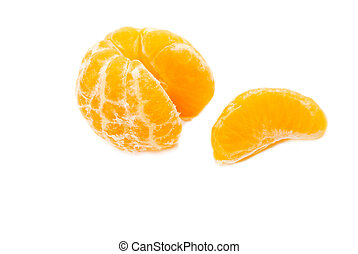 An Orange Slice Next to a Peeled Orange