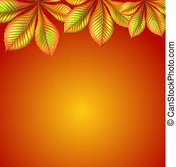 An orange wallpaper with leaves