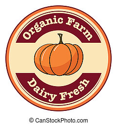 An organic farm and dairy fresh label with a pumpkin