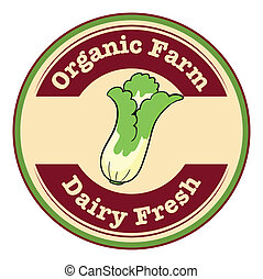 An organic farm and dairy fresh logo with a cabbage