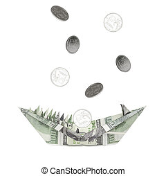 An origami figure made of dollars in the form of an animal's head with teeth and an open mouth. Coins rubles pour into the mouth of dollars. The concept of the growth of the dollar against the ruble.