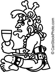 An original abstract Aztec style person glyph based on Aztec or Mayan design