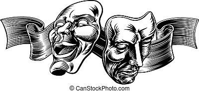 Theatre Masks - An original illustration of Theatre Masks,...