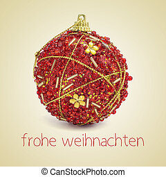 frohe weihnachten, merry christmas in german - an ornamented...