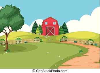 An outdoor farm landscape illustration