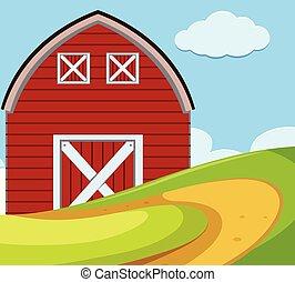 An outdoor scene with barn