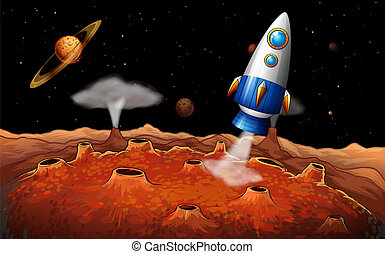 An outerspace with a rocket - Illustration of an outerspace...