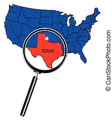 Texas - An outline map of The United States of America with...