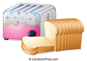 An oven toaster and slices of breads - Illustration of an...