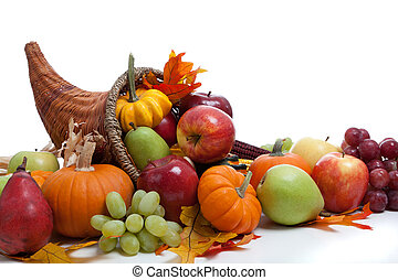 An overflowing cornucopia on a white background - An...