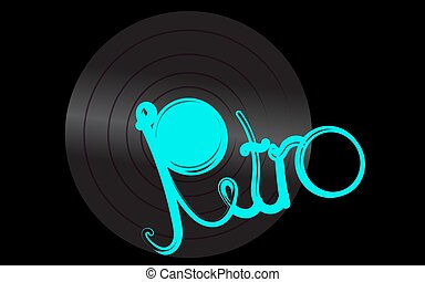 An overflowing vinyl musical analogue retro old antique hipster vintage gramophone record for a gramophone and a turquoise retro inscription on a black background in the center. Vector illustration