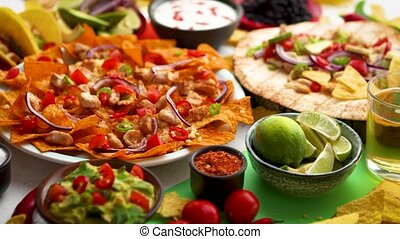An overhead photo of an assortment of many different Mexican...