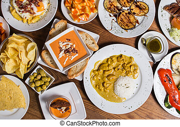 different Spanish tapas foods