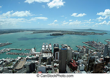 An overhead view of Auckland, taken from the famous Sky Tower