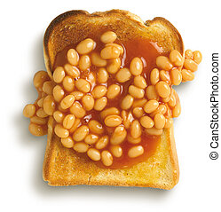 an overhead view of beans on toast isolated on a white ...