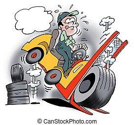 An overloaded truck