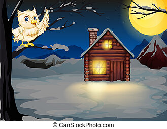 An owl at the branch of a tree near the lighted house -...