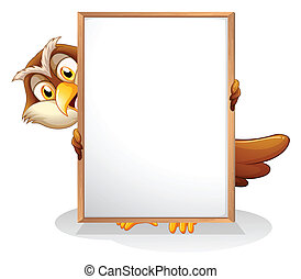 An owl holding an empty board