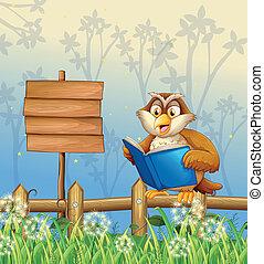 An owl reading a book beside a wooden signboard -...
