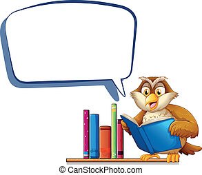 An owl reading a book with an empty rectangular callout -...