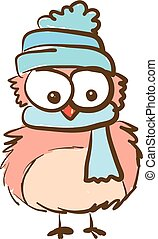 An owl wearing a cap vector or color illustration