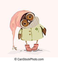 an owl with big eyes - owl predatory night bird with big...