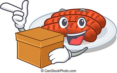 An picture of grilled sausage cartoon design concept holding a box