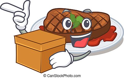 An picture of grilled steak cartoon design concept holding a box