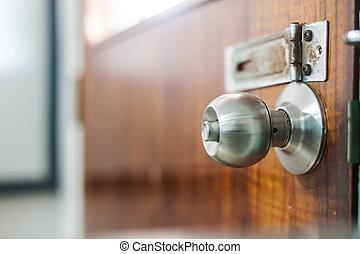 Steel knob in soft light
