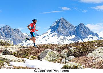 An ultra trail running athlete man during a workout
