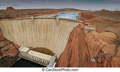 an ultra wide view of glen canyon dam in page, az