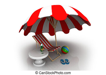An umbrella, ball, drinks, beach chair and a pair of flip-flops. Summer vacation concept
