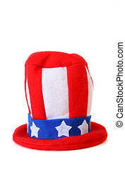 An Uncle Sam hat isolated on a white background with copy space.