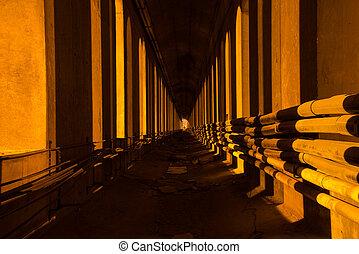 An underground tunnel.