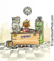 An unhappy secretary sitting at her desk with piles of paperwork