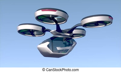 An unmanned passenger air taxi flies over the sea. The concept of the future driverless taxi. 3D rendering of animation. High quality 4k footage