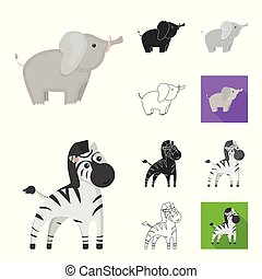 An unrealistic cartoon, black, flat, monochrome, outline animal icons in set collection for design. Toy animals vector symbol stock web illustration.
