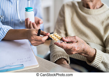 An unrecognizable health visitor explaining a senior woman in wheelchair how to take pills.