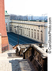 An unusual point of shooting of Royal castle in Warsaw. Poland