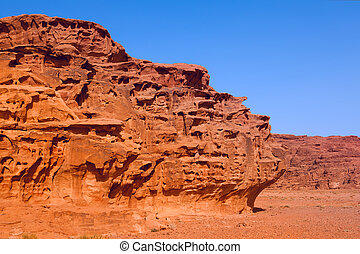 An unusual  rock formations  in Wadi Rum desert