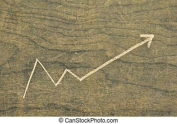 An upward graph on a chalkboard