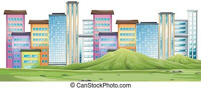 An urban city scene